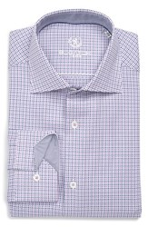 Bugatchi Men's Big And Tall Trim Fit Graphic Dress Shirt Orchid