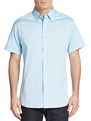 Saks Fifth Avenue Regular Fit Tonal Dot Cotton Sportshirt Aqua