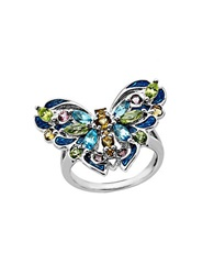 Lord And Taylor Multi Stone Butterfly Ring In Sterling Silver