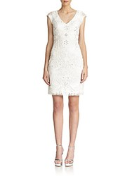 Sue Wong Embroidered V Neck Cocktail Dress White