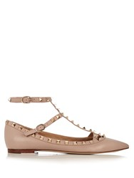 Valentino Rockstud T Bar Leather Flats Nude