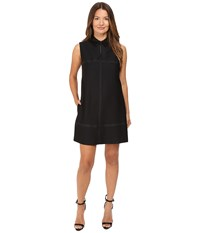 Just Cavalli Studded Shift With Eco Leather Collar Black Women's Dress