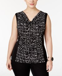 Calvin Klein Plus Size Printed Cowl Neck Shell Black White