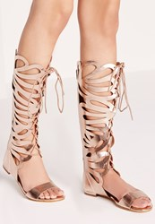 Missguided Laser Cut Lace Up Knee High Flat Sandal Rose Gold