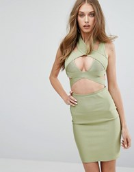 Missguided Bandage Cut Out Dress Khaki Green