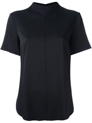 Cedric Charlier Stitch Detail Shortsleeved Blouse Blue