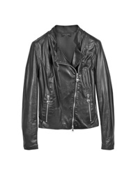 Forzieri Diagonal Zip Black Leather Motorcycle Jacket