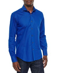 Bogosse Micro Dot Long Sleeve Sport Shirt Blue White Men's