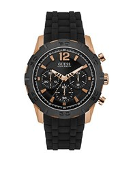 Guess Caliber Black Resin And Rose Goldtone Chronograph Watch