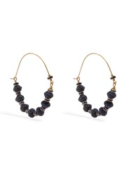 Isabel Marant Gold Tone Bead And Crystal Earrings Blue