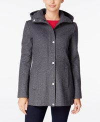 Tommy Hilfiger Hooded Peacoat Only At Macy's Heather Grey