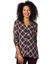 Motherhood Maternity Plaid Shirt Burg Plaid