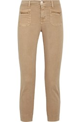 J Brand Talon Stretch Cotton Twill Skinny Pants Sand