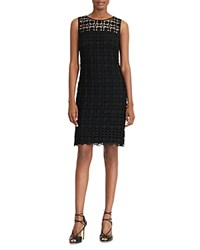 Ralph Lauren Geometric Lace Sheath Dress Black Wheat