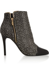 Lanvin Tweed Print Calf Hair And Leather Ankle Boots Black