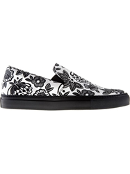 Christopher Kane Flower Print Slip Ons Black