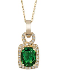 Le Vian Chrome Diopside 1 1 3 Ct. T.W. And Diamond 1 8 Ct. T.W. Pendant Necklace In 14K Gold Green