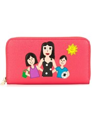Dolce And Gabbana Family Patch Wallet Pink And Purple