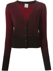 Eggs Gradient V Neck Cardigan Red