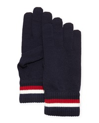 Moncler Striped Logo Wool Gloves Navy