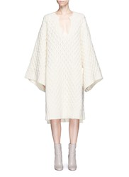 Chloe Diamond Lattice Textured Wool Knit Dress White