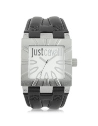 Just Cavalli Timesquare 3H Silver Dial Black Strap Men's Watch