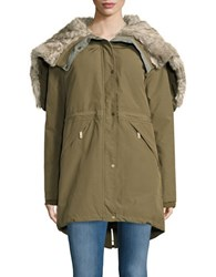 Vince Camuto Faux Fur Accented Parka Army Green