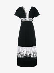 Christopher Kane Loop Lace Short Sleeve Midi Dress Black White