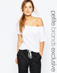 One Day Petite Off Shoulder Jersey Top White