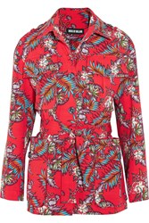 House Of Holland Printed Slub Cotton Jacket Red