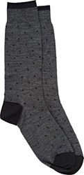 Barneys New York Polka Dot Mid Calf Socks Grey