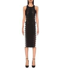 Jonathan Simkhai Diamond Embroidered Crepe Pencil Dress Black White