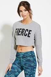 Forever 21 Active Graphic Cropped Pullover Heather Grey Black