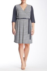 Sandra Darren Striped 3 4 Length Sleeve Dress Plus Size Multi