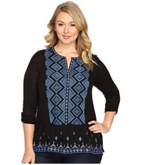 Lucky Brand Plus Size Embroidered Top Black Multi Women's Clothing