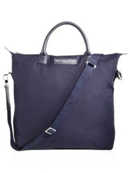 Want Les Essentiels O'hare Canvas And Leather Tote Navy Black Beige
