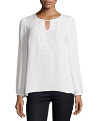 Laundry By Shelli Segal Embroidered Keyhole Blouse Pearl White