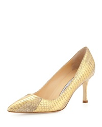 Manolo Blahnik Bb 70Mm Low Heel Snake Pump Gold