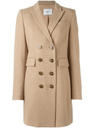 Dondup Flap Pockets Double Breasted Coat Nude Neutrals