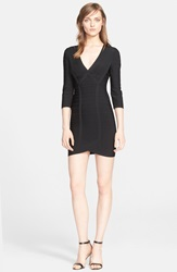 Herve Leger Long Sleeve V Neck Bandage Dress Black