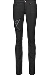 Balmain Pierre Embroidered Low Rise Skinny Jeans Black