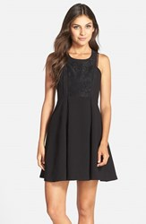 Women's Bcbgeneration Mixed Media Fit And Flare Dress Black