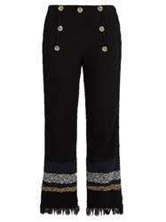 Sonia Rykiel Frayed Hem Cropped Tweed Trousers Navy Multi