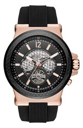 Michael Michael Kors Men's Michael Kors 'Dylan' Chronograph Silicone Strap Watch 48Mm Black Rose Gold