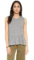 The Great. The Sleeveless Ruffle Tee Heather Grey