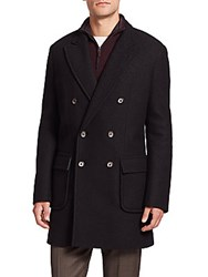 Saks Fifth Avenue Double Breasted Wool Coat Black