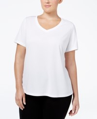 Ideology Plus Size Essential V Neck Performance T Shirt Only At Macy's Bright White