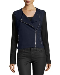 Catherine Malandrino Indigo Colorblock Ponte Moto Jacket Dark Navy Black