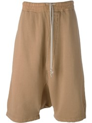 Rick Owens Drkshdw Casual Drop Crotch Shorts Nude And Neutrals