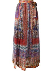 Etro Floral Print Maxi Skirt Red